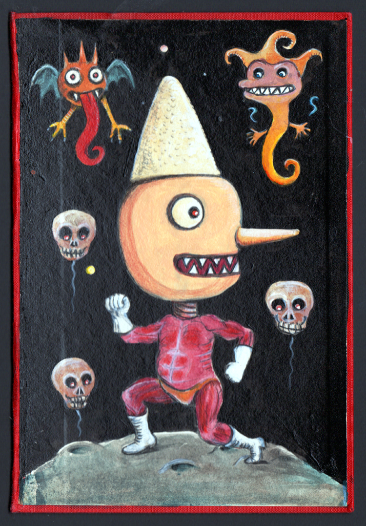 """Weird Pinocchio"" Acrylic paintings on old book card paper 